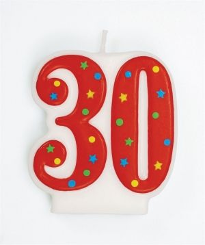 Red Multi '30' Candle