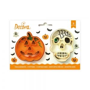 SKULL AND PLASTIC PUMPKIN COOKIE CUTTERS SET OF 2