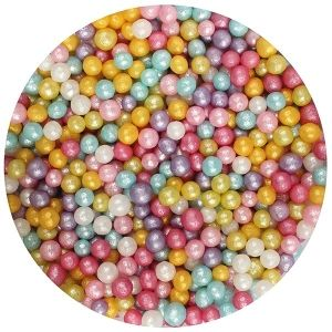 Purple Cupcakes 4mm Shimmer Pearls Multi  - 80gr.