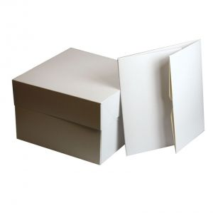 White Cake Boxes - 12'' (304 x 152mm sq.)