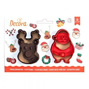 SANTA CLAUS AND REINDEER COOKIE CUTTER SET OF 2 8/7 XH 2.2 CM